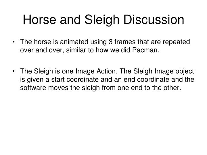 Horse and Sleigh Discussion