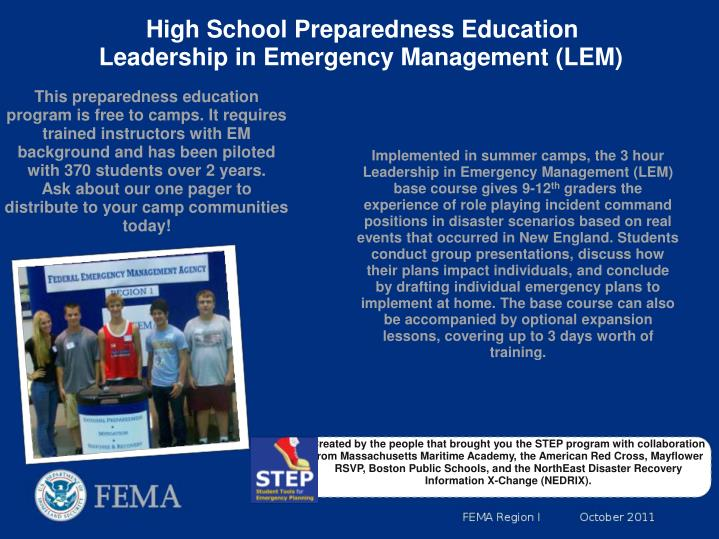 High School Preparedness Education