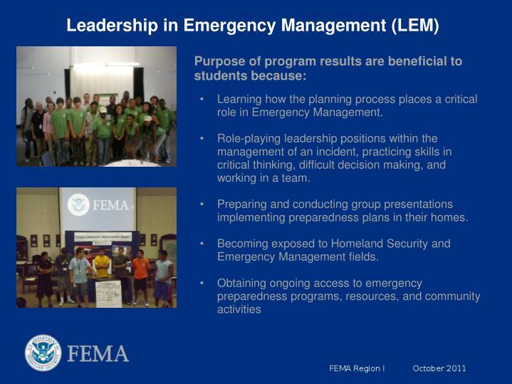Leadership in Emergency Management (LEM)