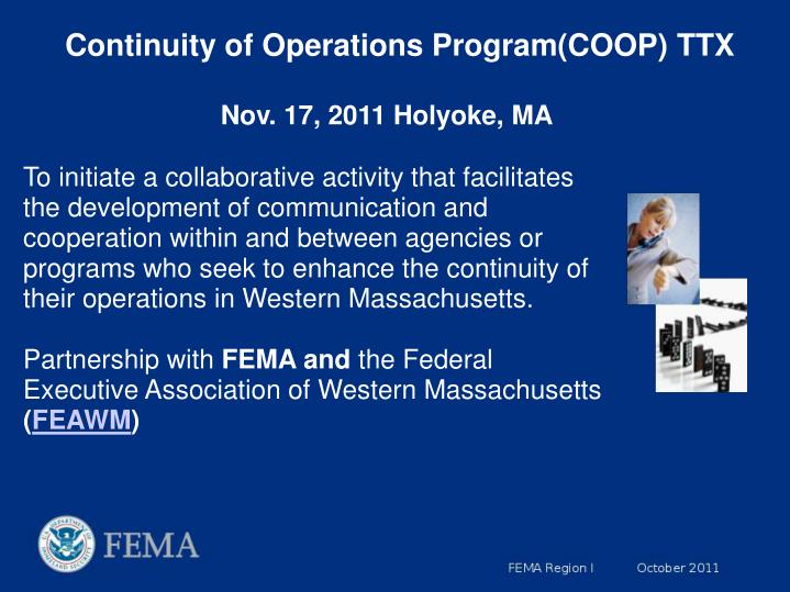 Continuity of Operations Program(COOP) TTX