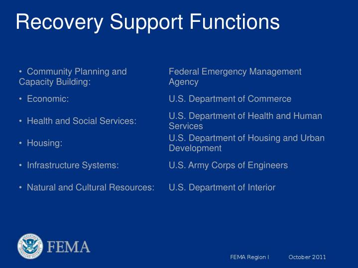 Recovery Support Functions