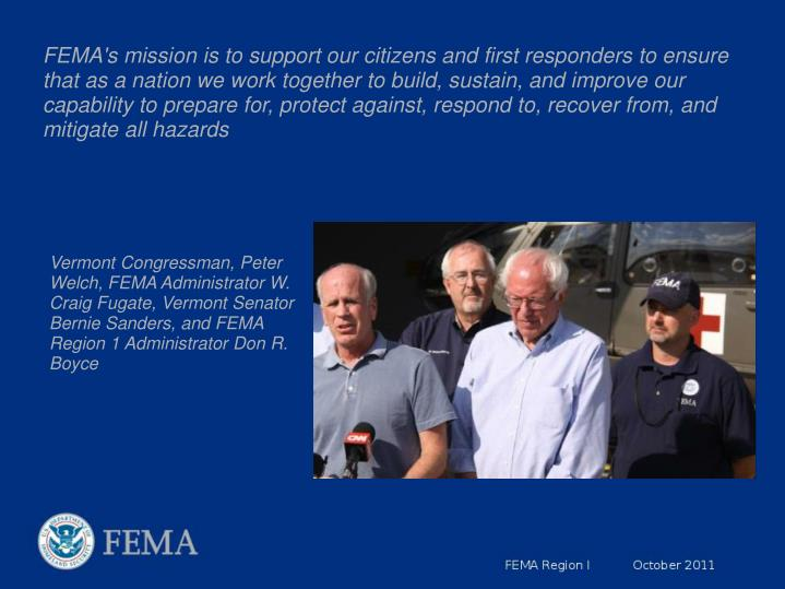 FEMA's mission is to support our citizens and first responders to ensure that as a nation we work together to build, sustain, and improve our capability to prepare for, protect against, respond to, recover from, and mitigate all hazards