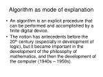 algorithm as mode of explanation