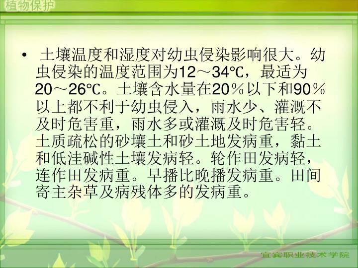 土壤温度和湿度对幼虫侵染影响很大。幼虫侵染的温度范围为