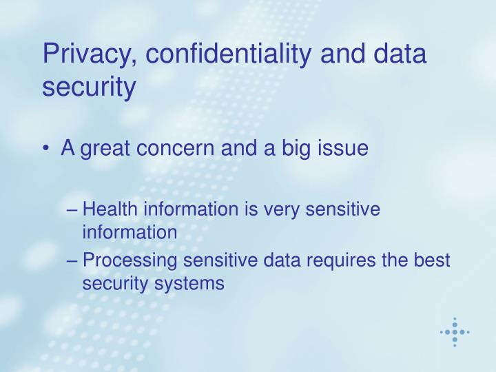 Privacy, confidentiality and data                                                               security