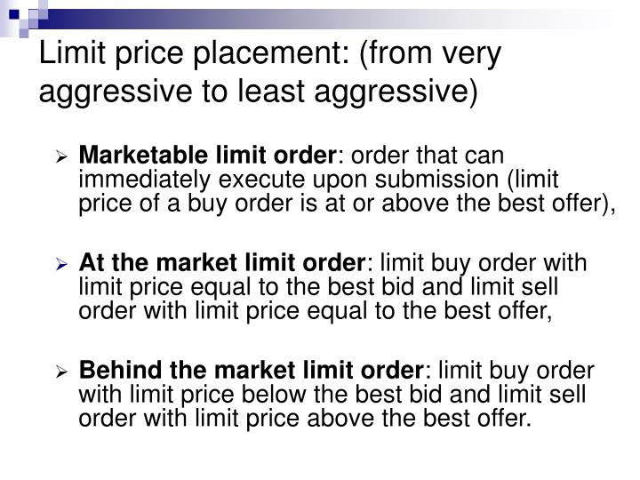 Limit price placement: (from very aggressive to least aggressive)