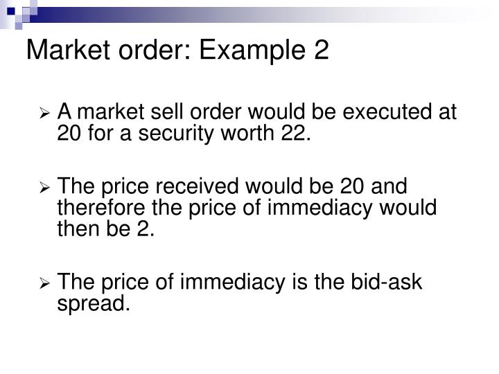 Market order: Example 2