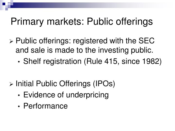 Primary markets: Public offerings