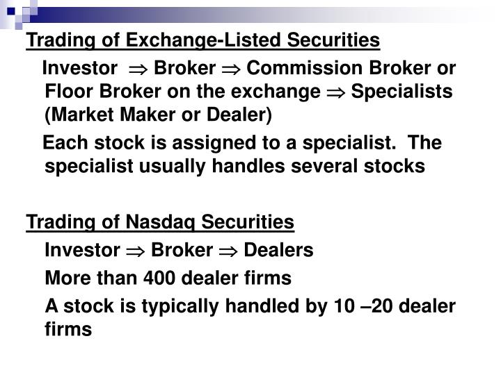 Trading of Exchange-Listed Securities