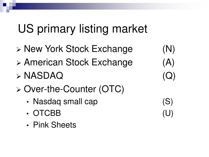 US primary listing market