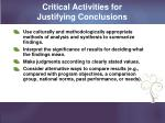 critical activities for justifying conclusions