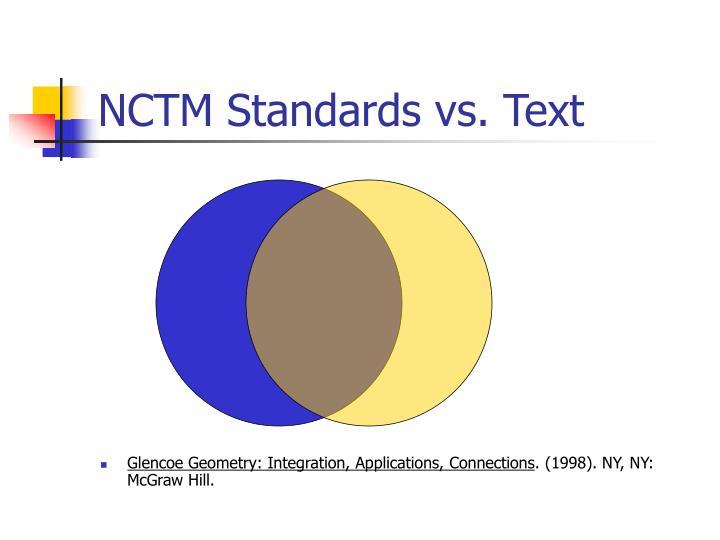 NCTM Standards vs. Text