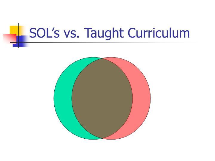 SOL's vs. Taught Curriculum