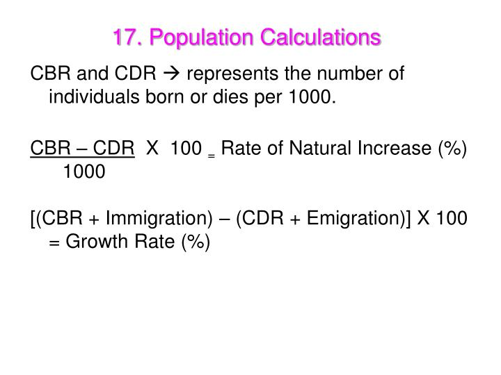 17. Population Calculations