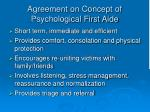agreement on concept of psychological first aide