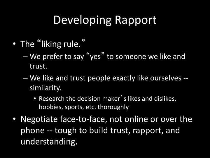 Developing Rapport