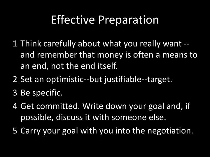 Effective Preparation