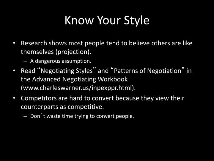 Know Your Style