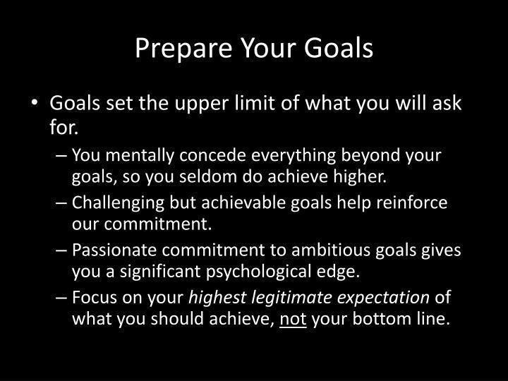 Prepare Your Goals