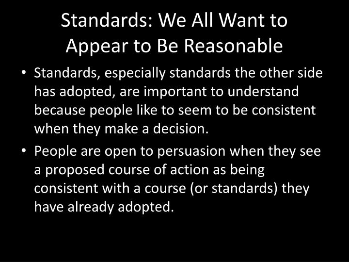 Standards: We All Want to