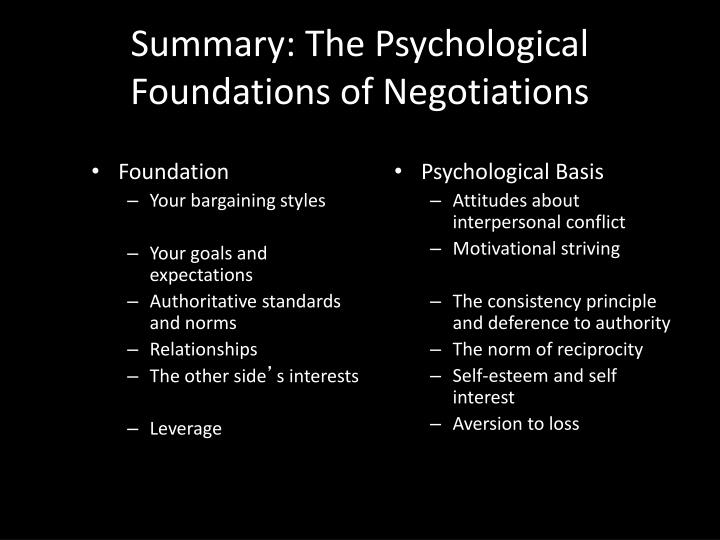Summary: The Psychological Foundations of Negotiations