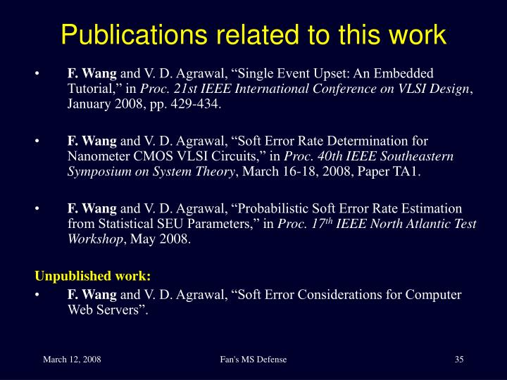 Publications related to this work