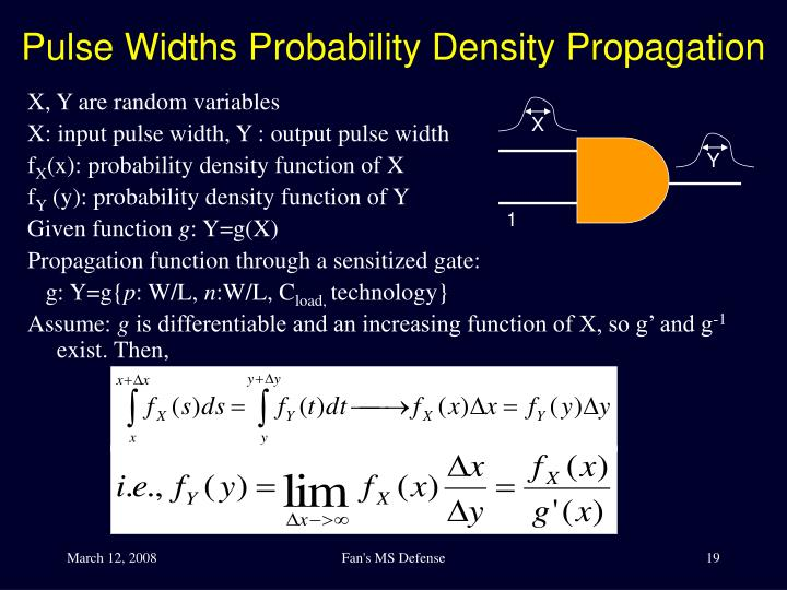 Pulse Widths Probability Density Propagation