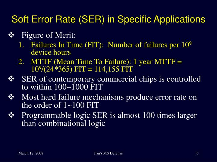 Soft Error Rate (SER) in Specific Applications