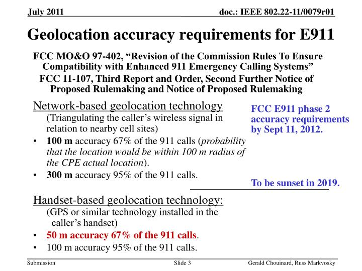 Geolocation accuracy requirements for e911