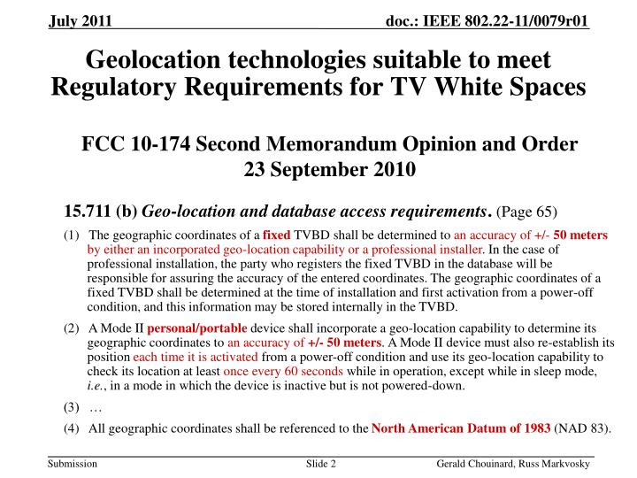 Geolocation technologies suitable to meet regulatory requirements for tv white spaces1