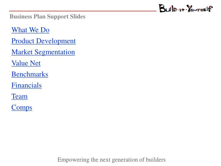 Business Plan Support Slides