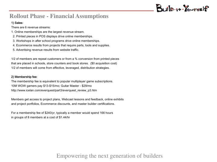 Rollout Phase - Financial Assumptions