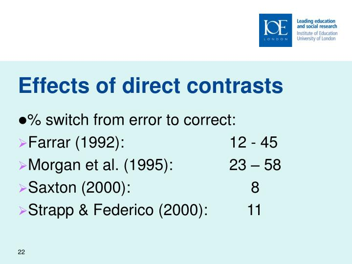 Effects of direct contrasts