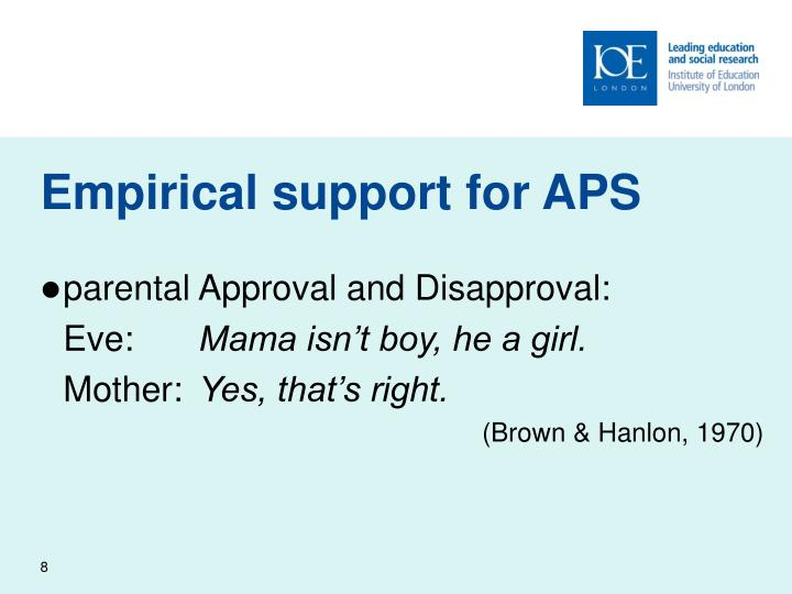 Empirical support for APS