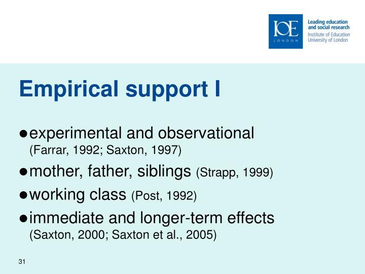 Empirical support I
