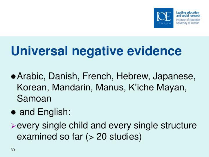 Universal negative evidence