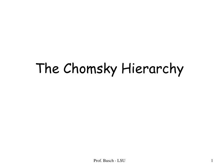 the chomsky hierarchy n.