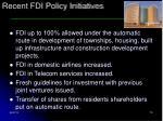 recent fdi policy initiatives