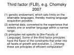 third factor flb e g chomsky 2007