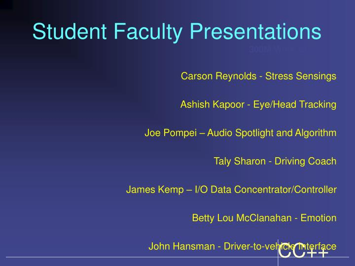 Student Faculty Presentations