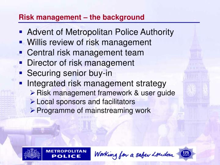 Risk management – the background