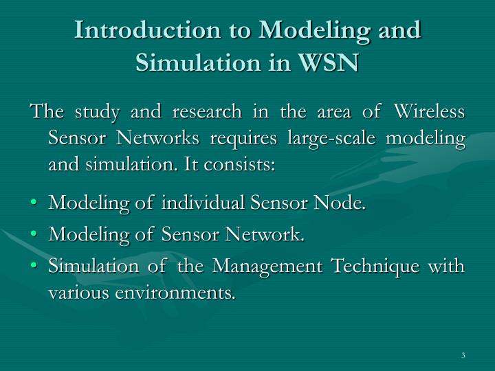 Introduction to modeling and simulation in wsn
