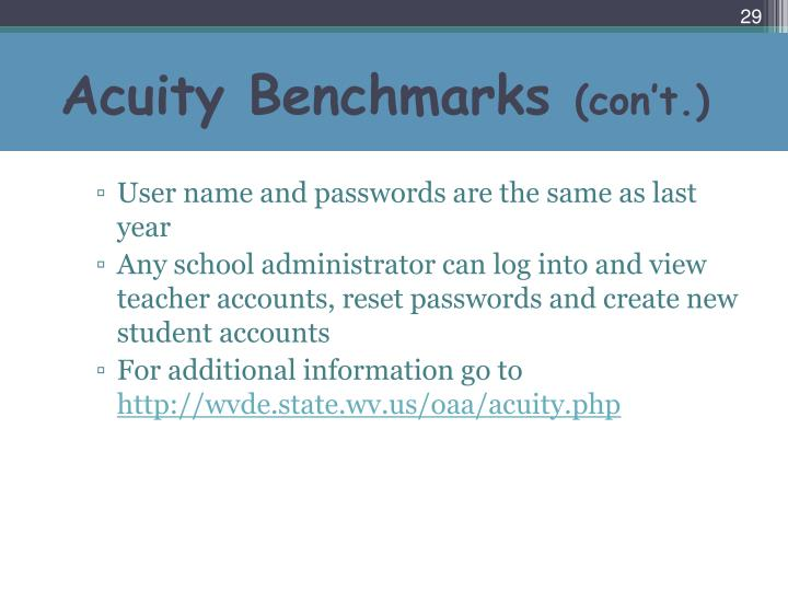 Acuity Benchmarks