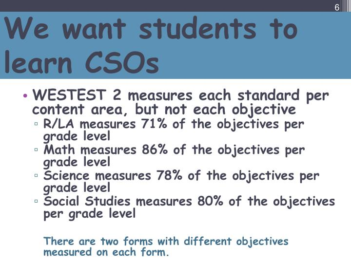 We want students to learn CSOs