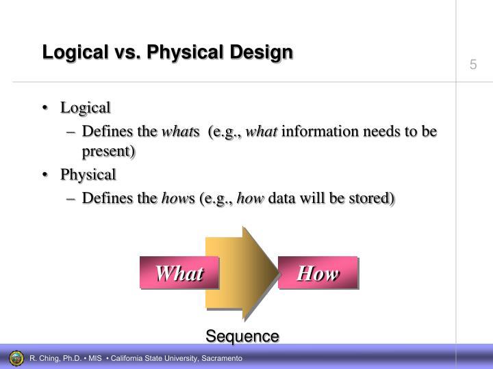 Logical vs. Physical Design