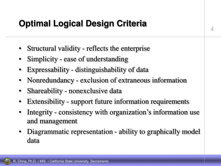 Optimal Logical Design Criteria