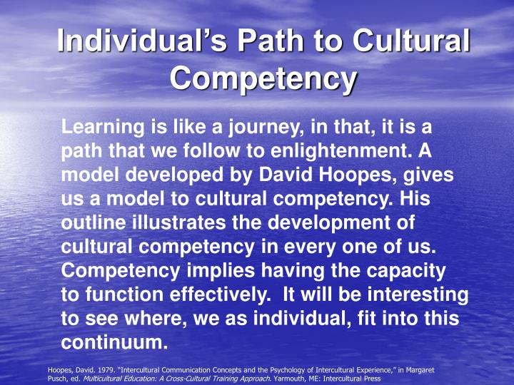 Learning is like a journey, in that, it is a path that we follow to enlightenment. A model developed by David Hoopes, gives us a model to cultural competency. His outline illustrates the development of cultural competency in every one of us.  Competency implies having the capacity to function effectively.  It will be interesting to see where, we as individual, fit into this continuum.