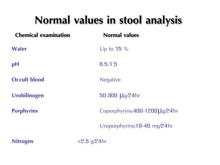 Normal values in stool analysis