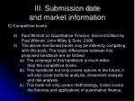 iii submission date and market information1
