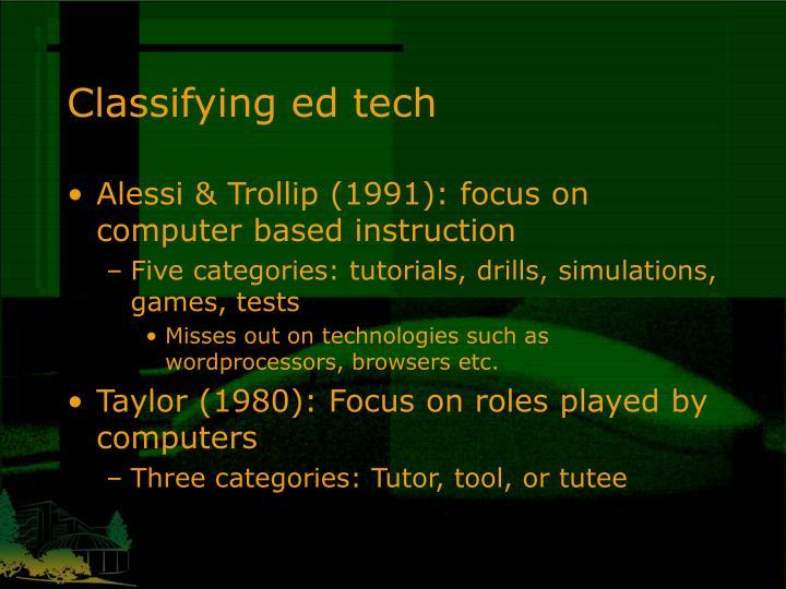 Classifying ed tech
